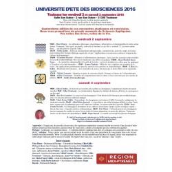 UNIVERSITÉ D'ÉTÉ DES BIOSCIENCES 2016